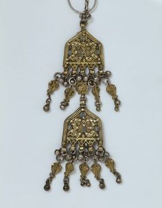 Earring | Yemen | V&A   This delicate pendant is typical of the kind of fine filigree made by Jewish silversmiths in the 19th century. It would have been one of a pair made to hang either side of the face like earrings. The circular wire may have been fastened into the ear, while the hook at the top was attached to the head covering, to help support its weight.  It was described as an engagement earring worn by Jewish women when it was acquired by the Museum in 1914.