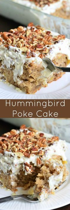 This version of a Hummingbird cake is so easy and extra moist from a layer of sweet, creamy sauce. This version of a Hummingbird cake is so easy and extra moist from a layer of sweet, creamy sauce. Poke Cake Recipes, Poke Cakes, Dessert Recipes, Layer Cakes, Low Carb Dessert, Oreo Dessert, Weight Watcher Desserts, 13 Desserts, Hummingbird Cake