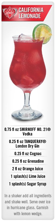 California Lemonade drink recipe with Smirnoff vodka. - [ ] Sand 'N Sea Properties LLC, Galveston, TX Fancy Drinks, Vodka Drinks, Non Alcoholic Drinks, Cocktail Drinks, Cocktail Recipes, Liquor Drinks, Cocktail Parties, Drink Recipes, Beverages
