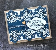 How to create a simple Christmas Card using Stampin' Up! Snowflake Sentiments & Swirly Snowflakes Thinlits - Mary Fish StampinUp