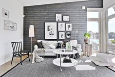 gravity-gravity: Living room with black wooden wall // full house tour here Living Room Interior, Home Living Room, Living Room Inspiration, Interior Inspiration, Black And White Living Room, Interior Architecture, Interior Design, Old Apartments, Wooden Walls