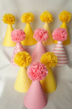Classic Pink Yellow Party Hats Pink Yellow by LibbysPaperPartyHats, $70.00