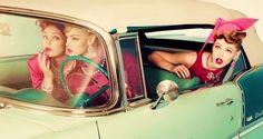 Vintage 50's car w/girls joy riding