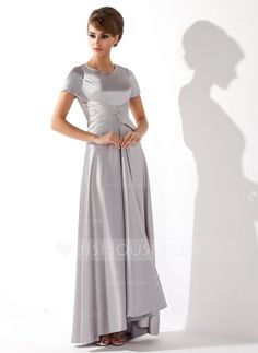 A-Line/Princess Scoop Neck Asymmetrical Charmeuse Mother of the Bride Dress With Ruffle Beading (008013774)