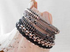 5 Wrap Bead and Herringbone Leather Bracelet by TwistedHillStudio, $35.00