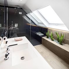 Are you a homeowner looking for a way to create an escape space for yourself in the comfort of your own home? House Design, House, Home, Small Attic Bathroom, Bedroom Loft, House Inspiration, Bathroom Design Small, Bathroom Design, Bathroom Decor