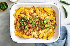 Comfort food, πατάτες στον φούρνο με τυρί, bacon και καυτερές πιπεριές Vegetable Pizza, Recipies, Tacos, Potatoes, Vegetables, Ethnic Recipes, Food, Recipes, Potato