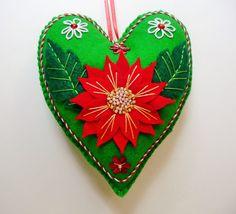 Poinsettia Felt Heart Ornament / Christmas Flower Ornament / Holiday Floral Ornament / Doorknob Hanger / Doorknob Pillow / Winter Decor