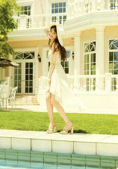 "Model / Aya Omasa. Japanese girls fashion magazine ""non-no"". girlish & cute style. White dress."