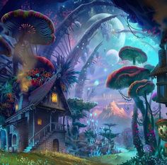 Psychedelic mushroom moon town