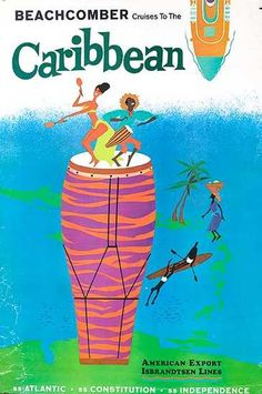 Beachcomber Cruises to the Caribbean  Travel Poster 1960s