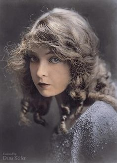 1920 Actress Lillian Gish. The artist evokes historical images to life by adding colors. By: Dana Keller.