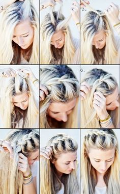 This half-side French braid shows easy to follow steps.