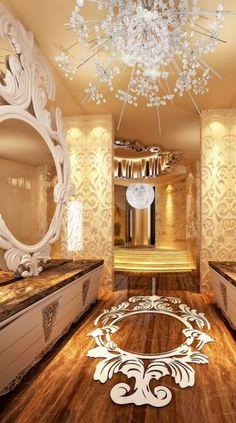 Luxurious bathroom with spectaular wood inlay on floor and a chandelier