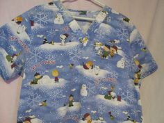 L PEANUTS SCRUB TOP SNOOPY WOODSTOCK CHARLIE BROWN LET IT SNOW NURSE DENTAL VET #peanuts