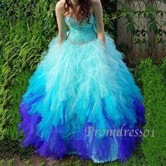 2015 cute multicolor sweetheart strapless beaded tulle long prom dress for teens, evening dress, grad dress #promdress #dressesforteens