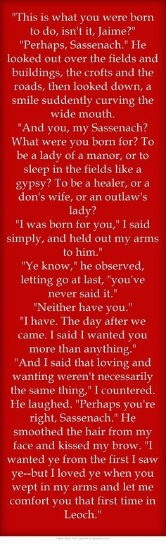 ...and this ladies and gentlemen is why so many people love the characters birthed from Diana Gabaldon's genius brain. Period.