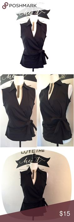 NWT EXPRESS Sleeveless Black Top NWT EXPRESS Sleeveless Black Top   Size: Medium   Wrap with side tie.  Super cute top.  Dress it up or down.   Too small for me. Express Tops Blouses