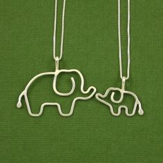Mother Baby Elephant Necklace Set, Sterling Silver, 18 Inch Chains, Made To Order Wire Jewelry, Jewelry Art, Jewelry Design, Unique Jewelry, Elephant Jewelry, Elephant Necklace, Mother And Baby Elephant, Future Tattoos, Girly Things