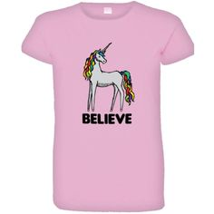 Womens Believe Unicorn Colorful Top Quality Tee Shirt ($16) ❤ liked on Polyvore featuring tops, t-shirts, pink top, pink t shirt, unicorn tee, pink tee and colorful tops