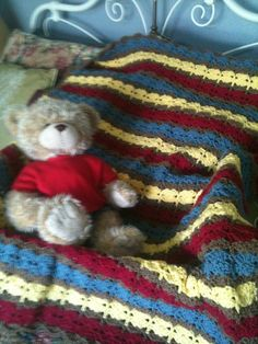 Red, Blue, Yellow, and Brown Baby Afghan