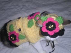 Crocheted Cat Sweater and Matching Cat Hat Flower by Fancihorse, $22.00