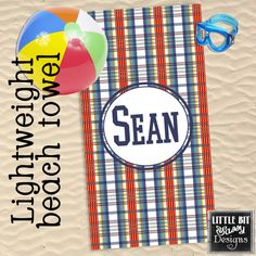 Striped Beach Towel with Embroidery