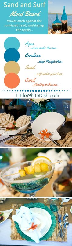 Our inspiration came from the beach front, ocean view of the pacific. Our tableware and decor will take guess on a journey through sand and salt water. Beach Table Settings, Red Appliances, Table Top Design, Exterior Makeover, White Dishes, Pacific Blue, Painted Doors, Cool Kitchens, Wedding Table