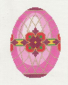 Lee 2012 Jeweled Rose Pink Egg Handpainted HP Needlepoint Canvas New for 2012 | eBay