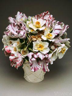 Clare Potter Porcelain Flowers Arrangement Figurine - at Mallett