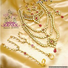 Engagement & Wedding Red-green Pearl White Kundan Golden 8pcs Bridal Necklace Set Reception Wedding Comfortable And Easy To Wear