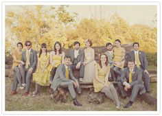 a lovely bridal party in mustard and grey, photo by Julia Robbs at Our Labor of Love