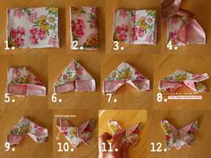Ideas For Origami Butterfly Fabric Scrap Butterfly Quilt, Origami Butterfly, Butterfly Crafts, Origami Flowers, Fabric Butterfly Diy, Butterfly Hair, Tie Crafts, Diy And Crafts, Sewing Hacks