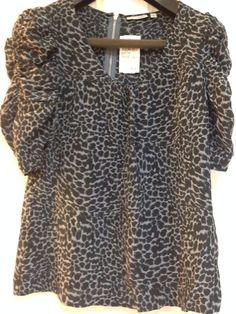 Halogen Womens M Gray and Black Ruched Scoop Neck 100% Silk Top/Blouse MSRP $78  | eBay