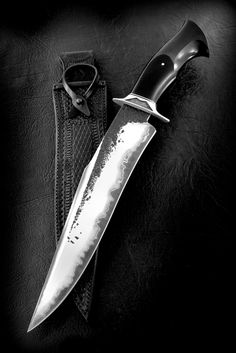 """CAS Claudio Sobral Brut de Forge Fighter. 12"""" San Mai blade, black micarta handle. Once again Claudio hits it out of the park with this gorgeous Bowie knife. He is an artist."""