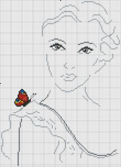 Cross stitch butterfly on shoulder. Butterfly Cross Stitch, Cross Stitch Art, Cross Stitch Alphabet, Cross Stitch Designs, Cross Stitching, Cross Stitch Embroidery, Embroidery Patterns, Hand Embroidery, Cross Stitch Patterns