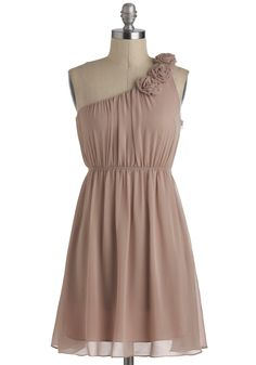 Special Some-One Shoulder Dress in Sand - Short, Tan, Solid, Flower, Party, A-line, One Shoulder, Prom
