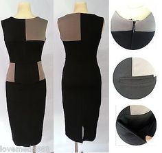 Women Optical Illusion Colorblock Fitted Bodycon casual Pencil Dress MEDIUM 1888