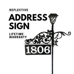 Reflective House Numbers Double Sided Solar Light Driveway Marker with 48 or 60 Pole Includes Metal Sign Permeable Driveway, Driveway Landscaping, Driveways, Driveway Sign, Driveway Markers, Mailbox Makeover, Driveway Lighting, Aging Parents, Address Numbers