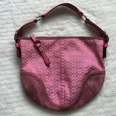 "Authentic Coach Pink Canvas and Suede Shoulder bag Preowned and in good condition Authentic Coach Pink Canvas and Suede Shoulder bag. Suede needs cleaning. 9.5"" long and 11"" wide. Very cute!! Please look at pictures for better reference. Happy shopping!!! CR Coach Bags Shoulder Bags"