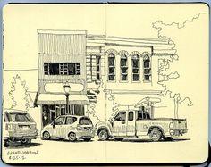 grand junction colorado by paul heaston Sketchbook Drawings, Ink Drawings, Drawing Sketches, Flower Drawings, Grand Junction Colorado, City Drawing, Canyon Country, Urban Sketchers, Sketchbook Inspiration