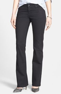 Free shipping and returns on KUT from the Kloth 'Natalie' Bootcut Jeans (Black) at Nordstrom.com. Stretch-denim jeans sport a lean silhouette that's cut slim through the legs before finishing with a bootcut opening. Tonal topstitching and plain pockets enhance the sleek look.