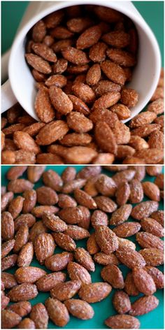 Cinnamon Roasted Almond Recipe on twopeasandtheirpo. Great for holiday gift giving, snacking, and for holiday recipes! Cinnamon Roasted Almonds, Roasted Nuts, Salted Almonds Recipe, Candied Pecans, Nut Recipes, Almond Recipes, Cooking Recipes, Sweets Recipes, Patisserie