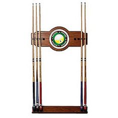Nine Ball 2-Piece Wood and Mirror Wall Cue Rack, Multicolor