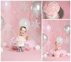 """But i like how the tulle softens the backdrop. Pink Winter """"ONE""""derland Cake Smash Session Baby Girl 1st Birthday, Birthday Cake Smash, 1st Birthday Parties, Birthday Ideas, Winter Wonderland Birthday, Winter Birthday, Fete Emma, 1st Birthday Pictures, Foto Baby"""