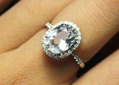 3 Carat Aquamarine Engagement Ring, Diamonds, 14K White Gold. $989.00, via Etsy.  This is it!!