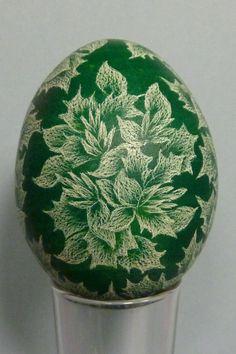 Skrobanki - Leaves and Flower Design on Deep Green Background. $20.00, via Etsy.
