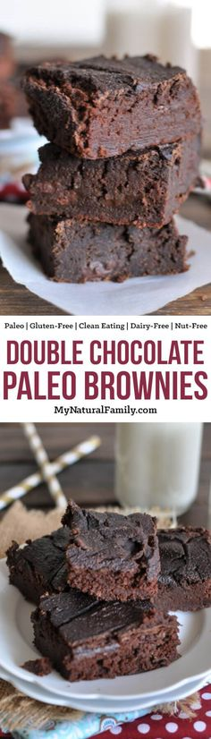 Double Chocolate Paleo Brownies (Nut-Free, Gluten-Free, Clean Eating, Dairy-Free) – Famous Last Words Dairy Free Fudge, Dairy Free Chocolate, Dairy Free Recipes, Chocolate Recipes, Gluten Free, Lactose Free, Low Carb Dessert, Paleo Dessert, Healthy Dessert Recipes