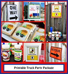Printable Truck Party Package  Printable road signs, water labels, bubble bottles, boy birthday party, big rig party, truck stop party, trucker party.  Theme:  Big rig, boy, Trucker, Truck, 18 wheeler, dump truck, construction, cement truck, garbage truck