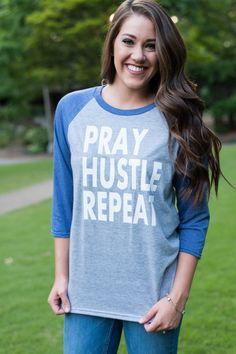 Pray Hustle Repeat Raglan Baseball Shirt by FlowerFairyMonograms